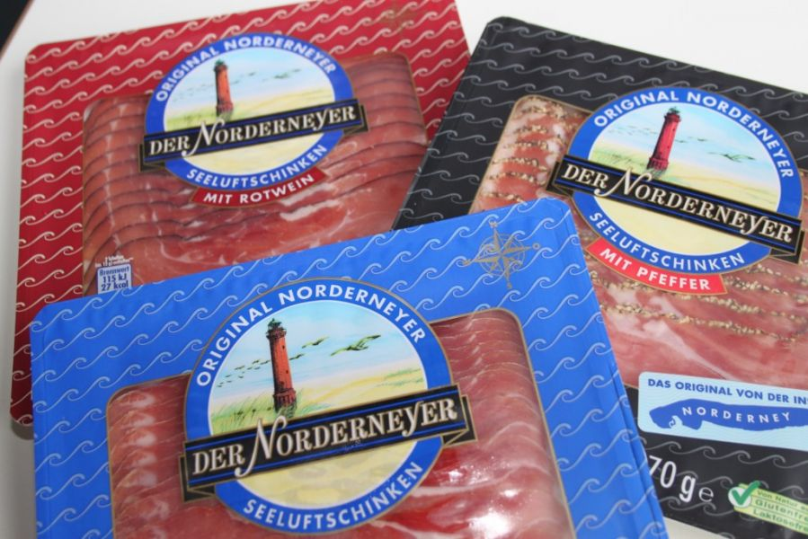Original Norderneyer Seeluftschinken in der SB-Packung.